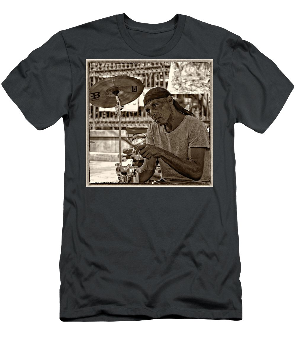 French Quarter Men's T-Shirt (Athletic Fit) featuring the photograph Lost In The Beat Sepia by Steve Harrington