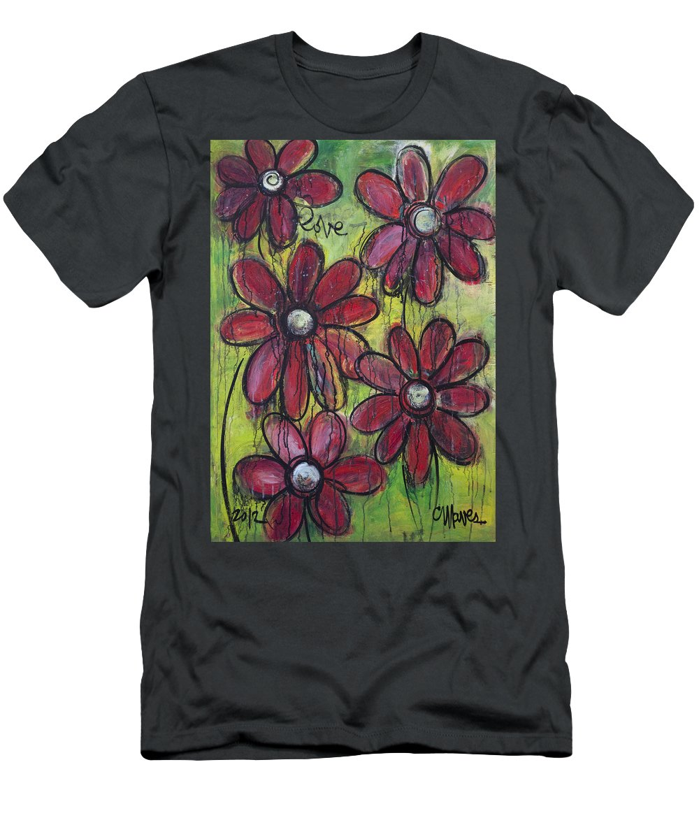 Daisies Men's T-Shirt (Athletic Fit) featuring the painting Love For Five Daisies by Laurie Maves ART