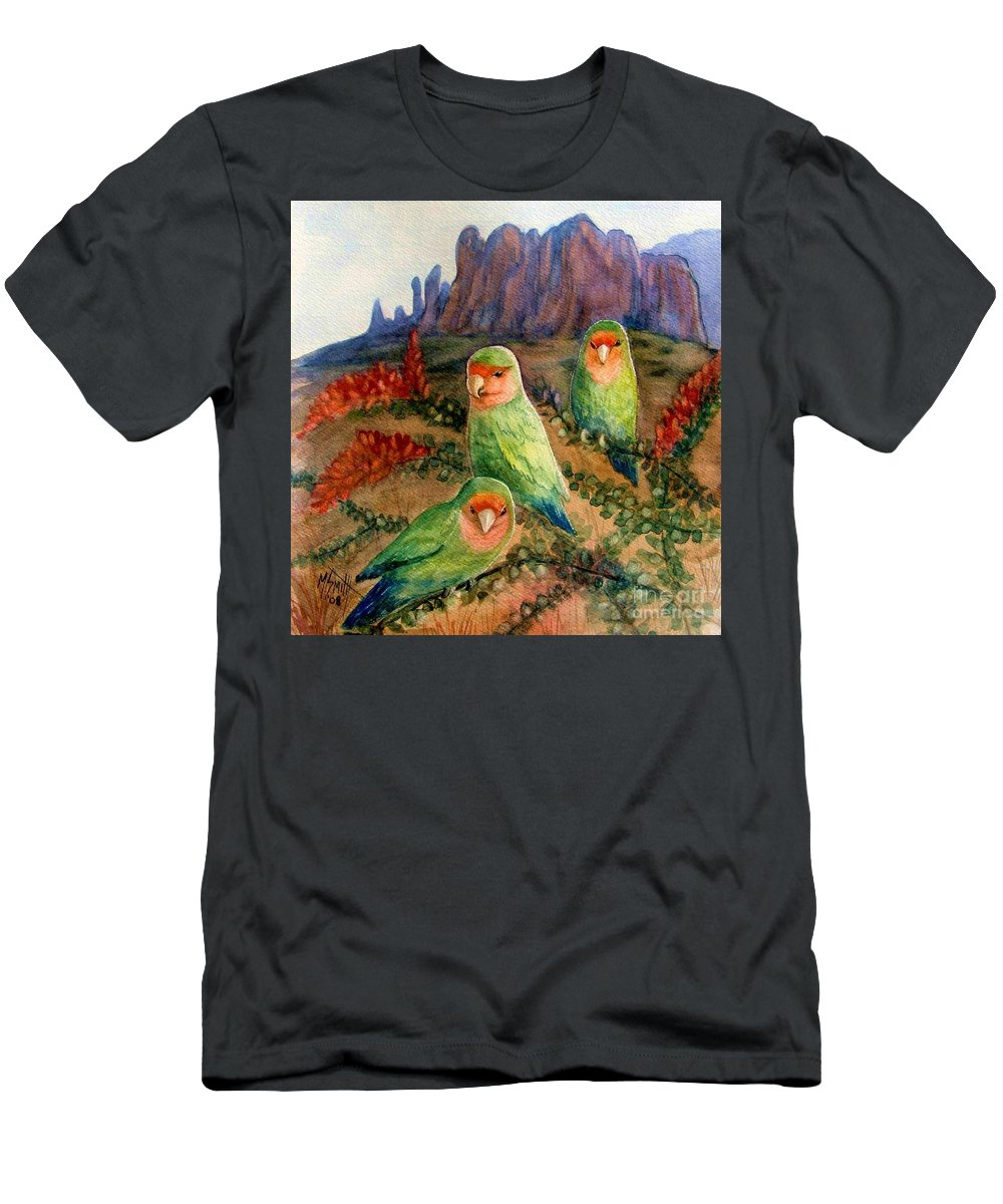 Birds Men's T-Shirt (Athletic Fit) featuring the painting Lovebirds by Marilyn Smith