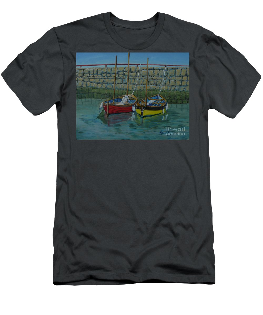 Rock Men's T-Shirt (Athletic Fit) featuring the painting Low Tide by Anthony Dunphy