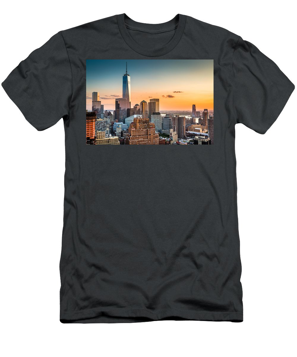 Broadway Men's T-Shirt (Athletic Fit) featuring the photograph Lower Manhattan At Sunset by Mihai Andritoiu
