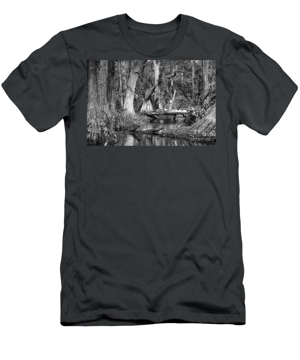 Loxahatchee River Men's T-Shirt (Athletic Fit) featuring the photograph Loxahatchee Black And White by Bruce Bain
