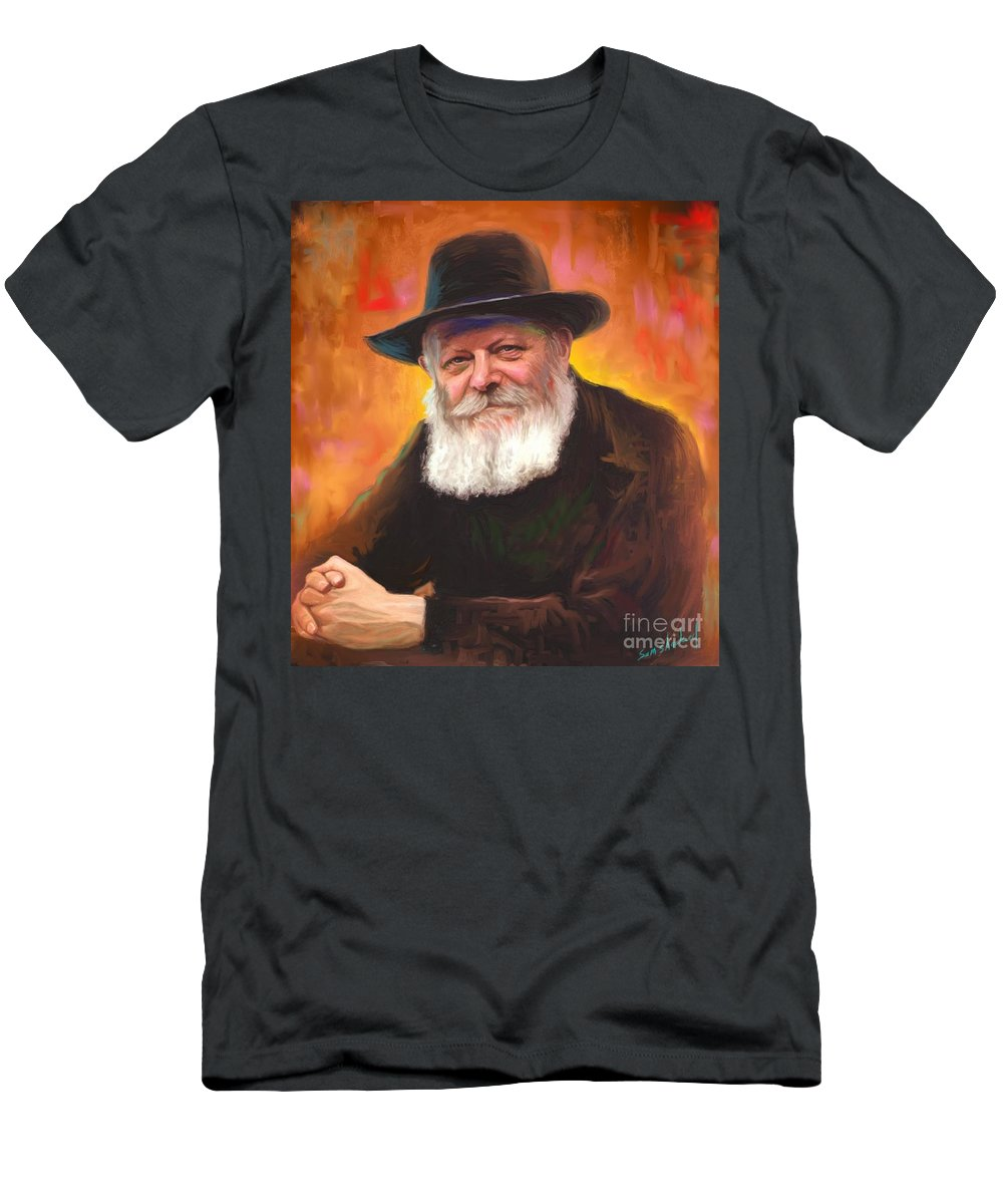 Lubavitcher Rebbe Men's T-Shirt (Athletic Fit) featuring the painting Lubavitcher Rebbe by Sam Shacked