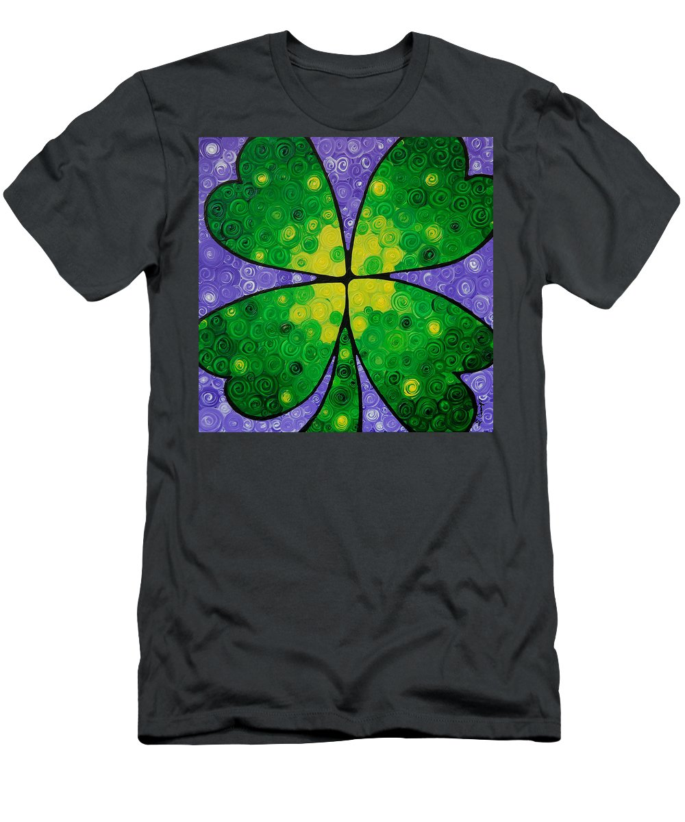 Shamrock Men's T-Shirt (Athletic Fit) featuring the painting Lucky One by Sharon Cummings