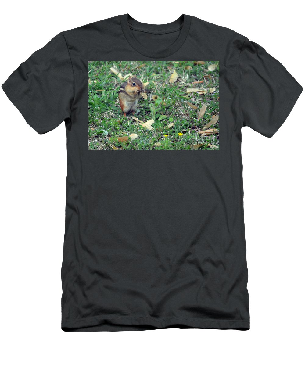 Chipmunk Men's T-Shirt (Athletic Fit) featuring the photograph Lunch Time Photo B by Barb Dalton