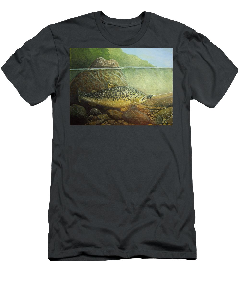 Rick Huotari Men's T-Shirt (Athletic Fit) featuring the painting Lurking by Rick Huotari