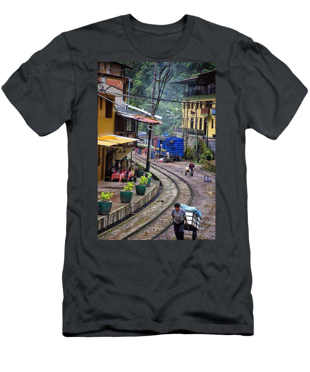 Macchu Picchu Men's T-Shirt (Athletic Fit) featuring the photograph Macchu Picchu Town - Peru by Jon Berghoff