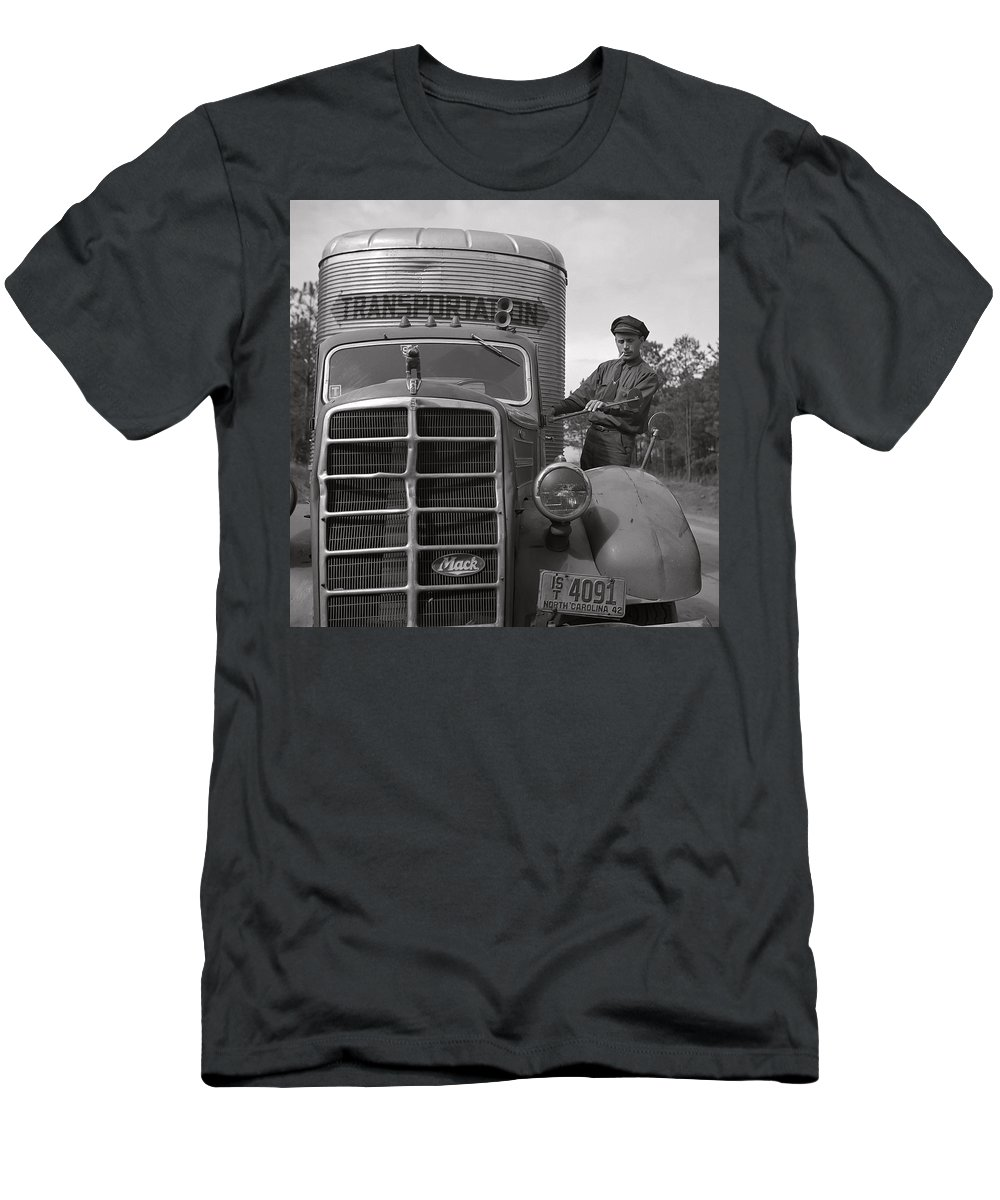 Mack Men's T-Shirt (Athletic Fit) featuring the photograph Mack Truck 1943 by Daniel Hagerman