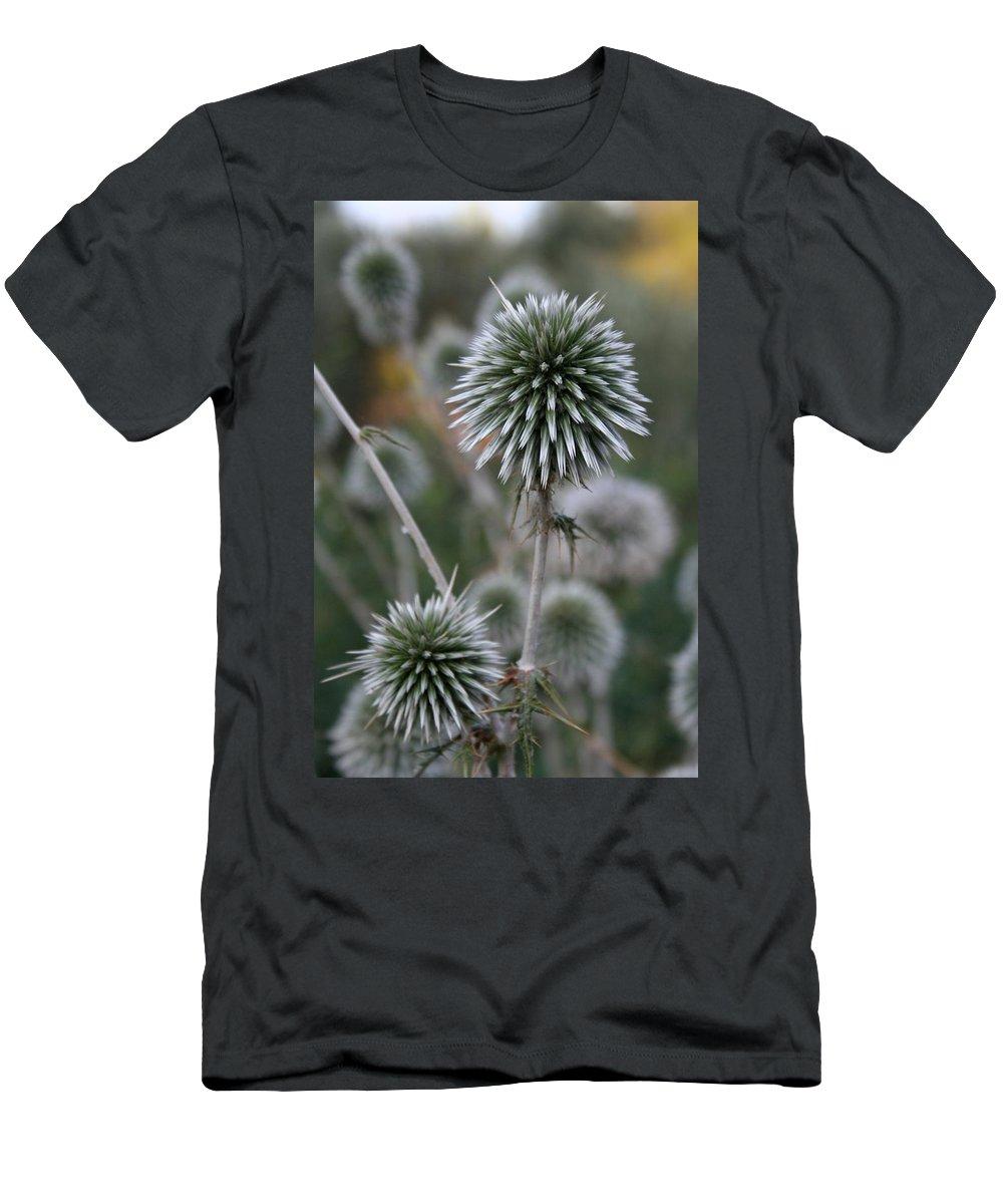 Allium Sphaerocephalon Men's T-Shirt (Athletic Fit) featuring the photograph Macro Seed Head Of Round Headed Garlic by Taiche Acrylic Art