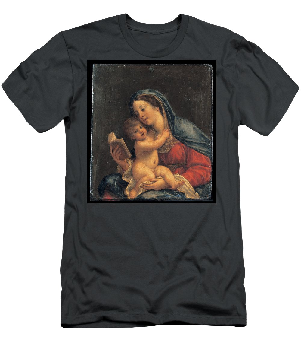 Francesco Albani Men's T-Shirt (Athletic Fit) featuring the painting Madonna With The Child by Francesco Albani