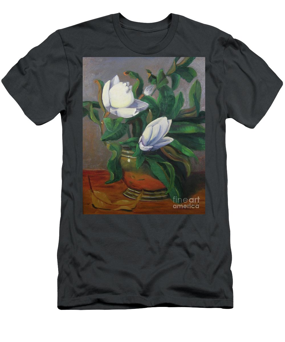 Floral Men's T-Shirt (Athletic Fit) featuring the painting Magnolias On Brass by Lilibeth Andre