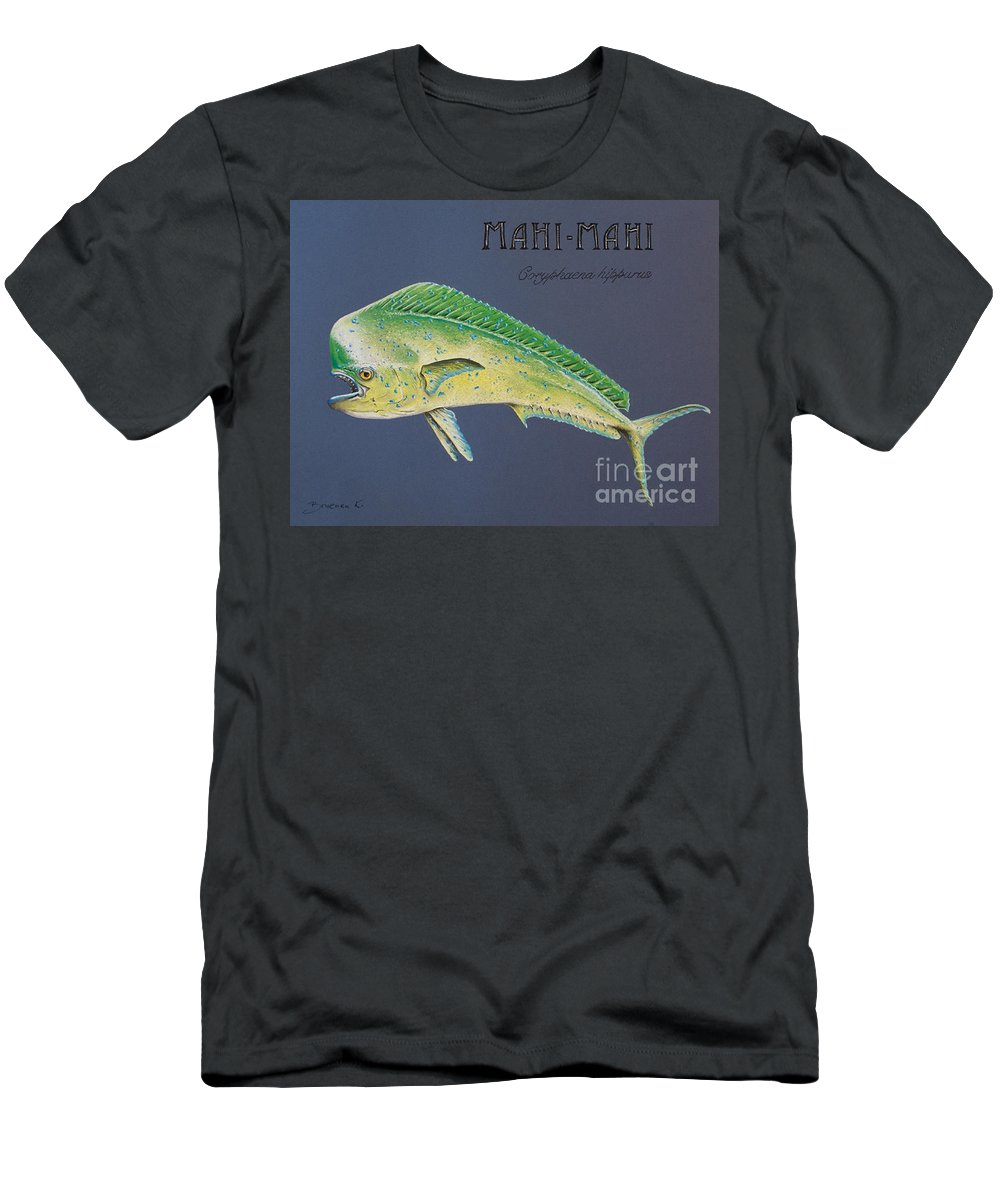 Mahi Mahi Men's T-Shirt (Athletic Fit) featuring the pastel Mahi-mahi by Katharina Filus