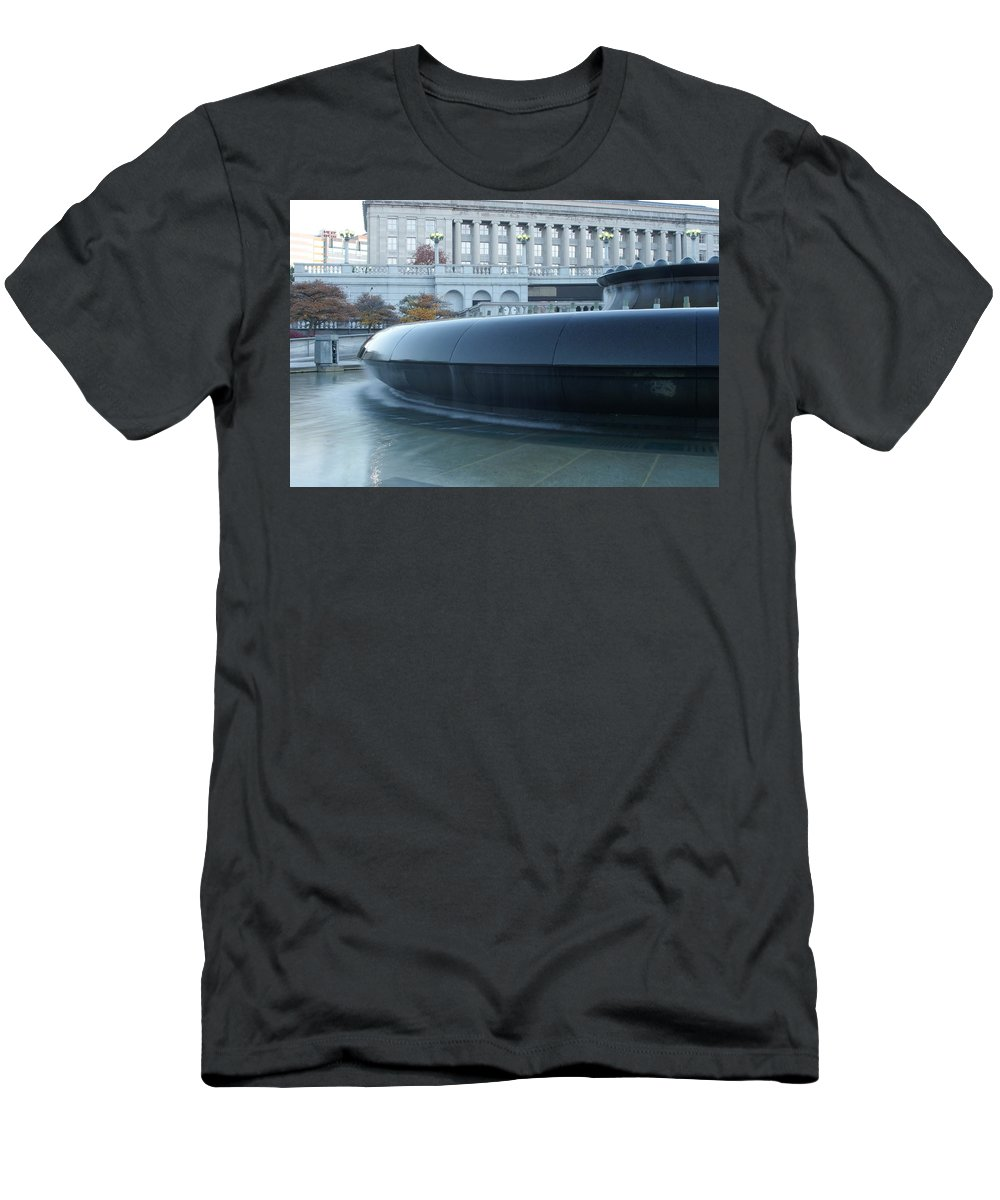 Fountain Men's T-Shirt (Athletic Fit) featuring the photograph Main Fountain State Capital by Rob Luzier