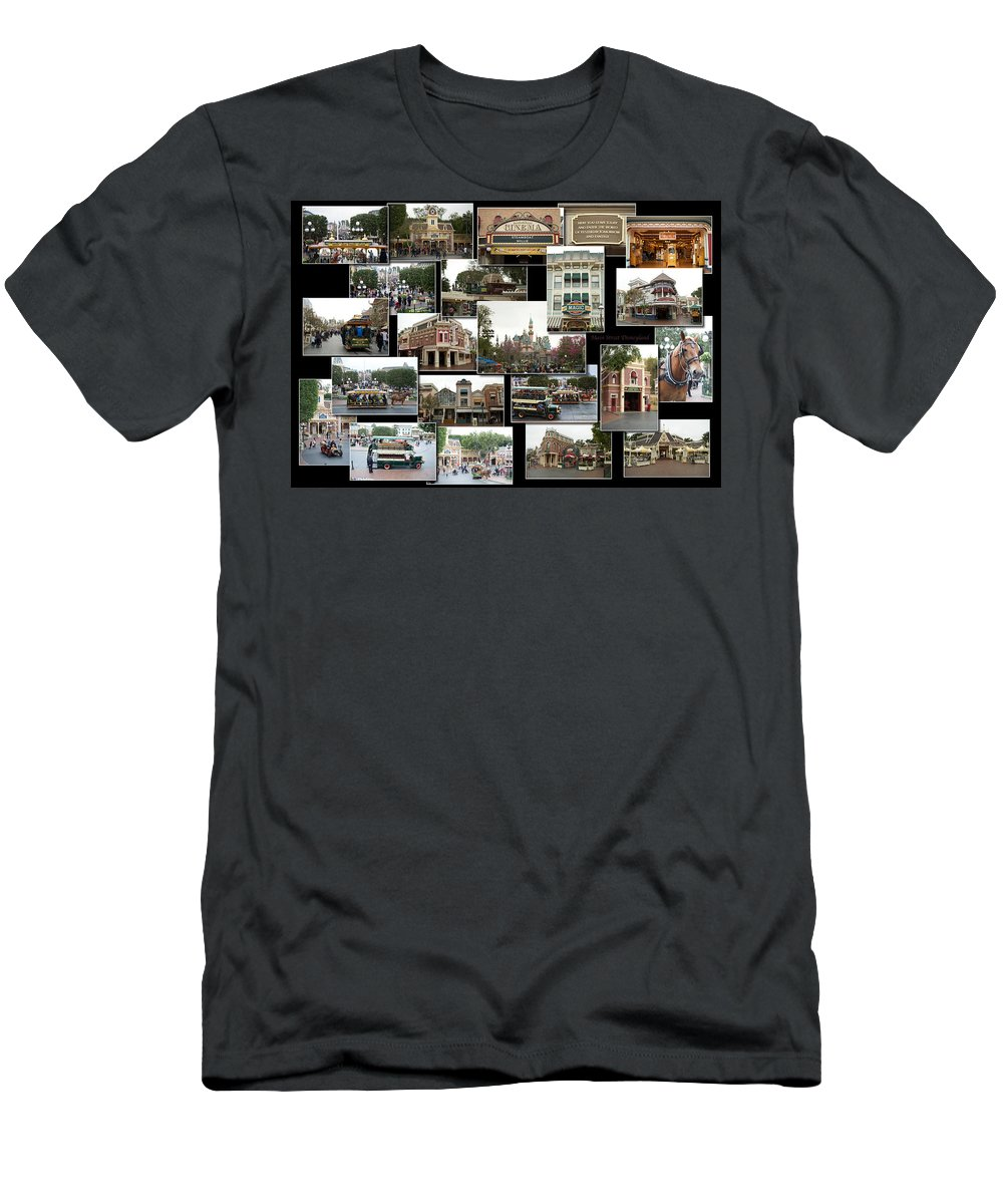 Disney Men's T-Shirt (Athletic Fit) featuring the photograph Main Street Disneyland Collage 02 by Thomas Woolworth