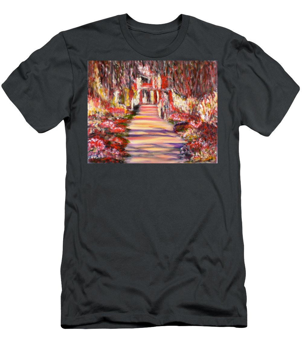 Garden Impressionist Red Yellow Blue Pink Flowers Romantic Reflections Landscape Monet Black T-Shirt featuring the painting Majestic Garden by Manjiri Kanvinde