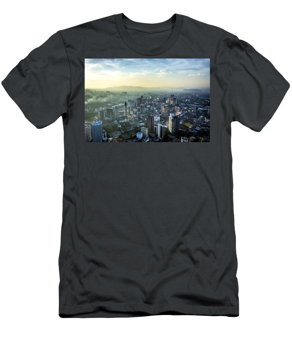 Built Structure Men's T-Shirt (Athletic Fit) featuring the photograph Malaysia Aerial by Jijo George
