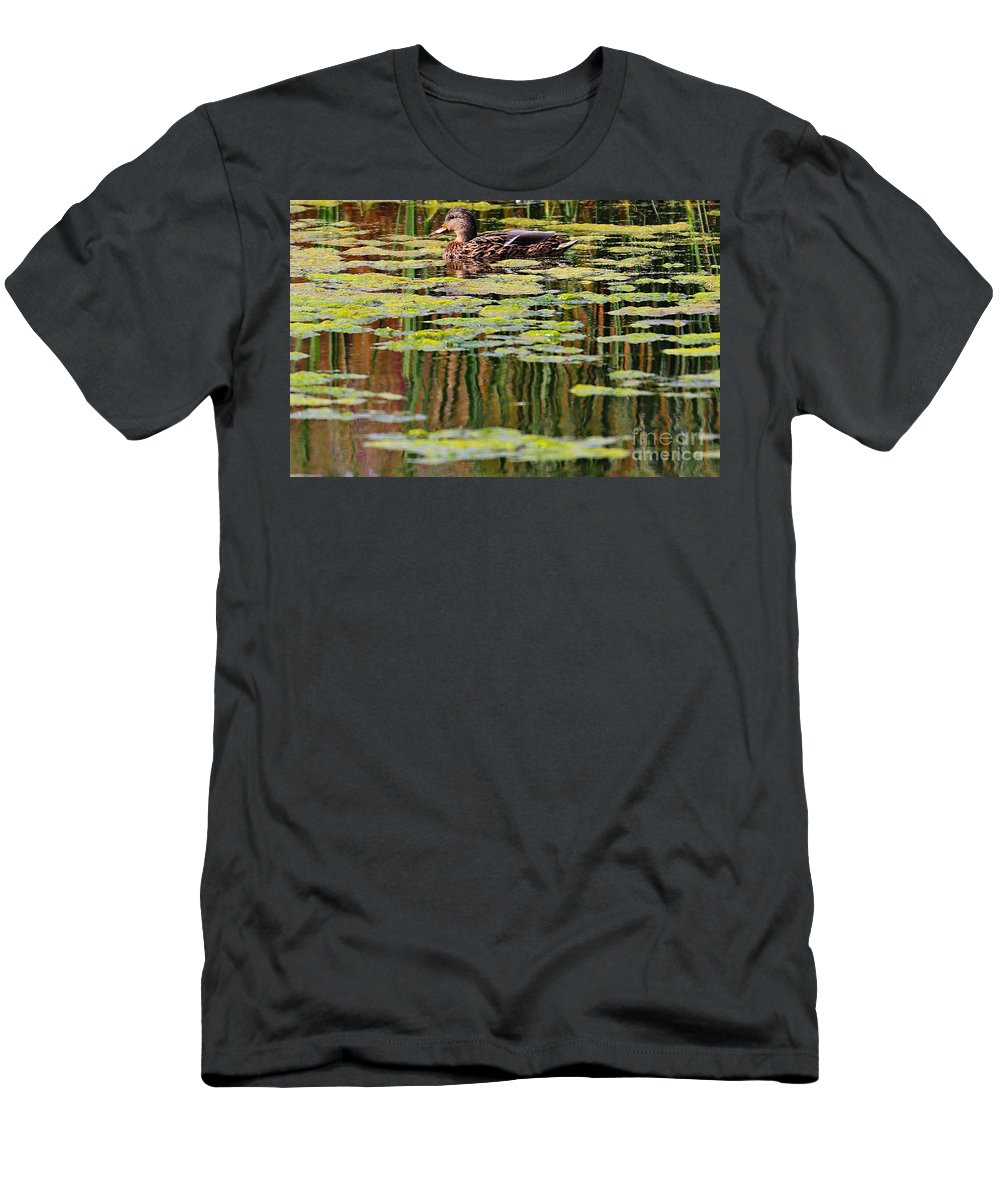 Duck Men's T-Shirt (Athletic Fit) featuring the photograph Mallard Pond by Elizabeth Winter