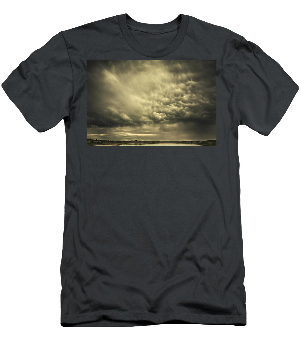 Mammatus Men's T-Shirt (Athletic Fit) featuring the photograph Mammatus Storm Clouds Above A Lake by Joel Koop