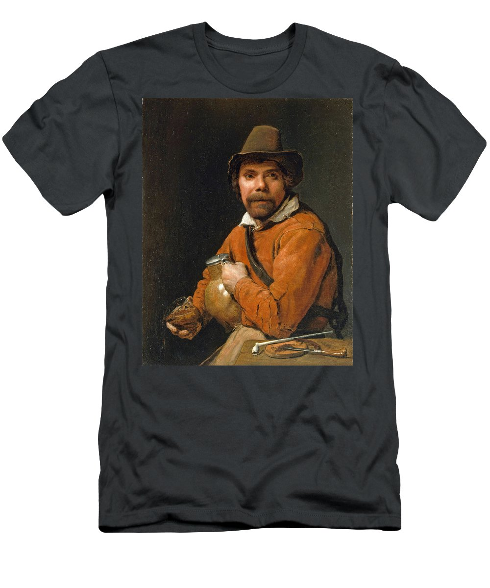 Michiel Sweerts Men's T-Shirt (Athletic Fit) featuring the painting Man Holding A Jug by Michiel Sweerts