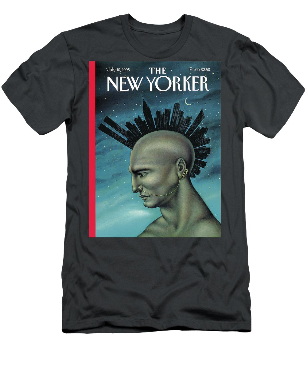 Mohawk Men's T-Shirt (Athletic Fit) featuring the painting Mohawk Manhattan by Anita Kunz