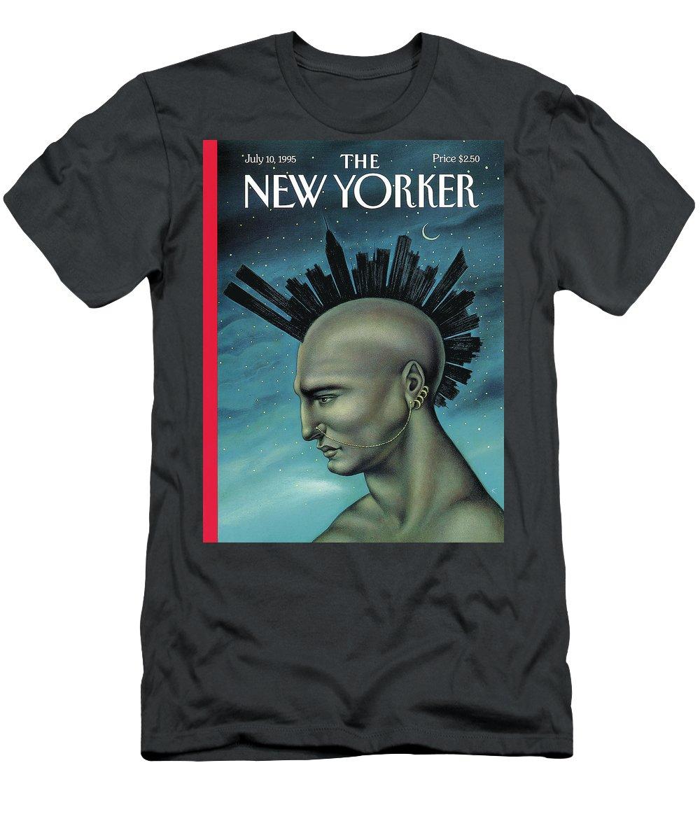 Mohawk T-Shirt featuring the painting Mohawk Manhattan by Anita Kunz