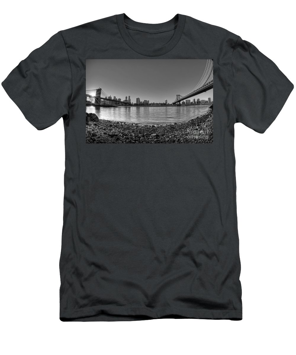 Bw Men's T-Shirt (Athletic Fit) featuring the photograph Manhattan And Brooklyn Bridge Fisheye Bw by Michael Ver Sprill