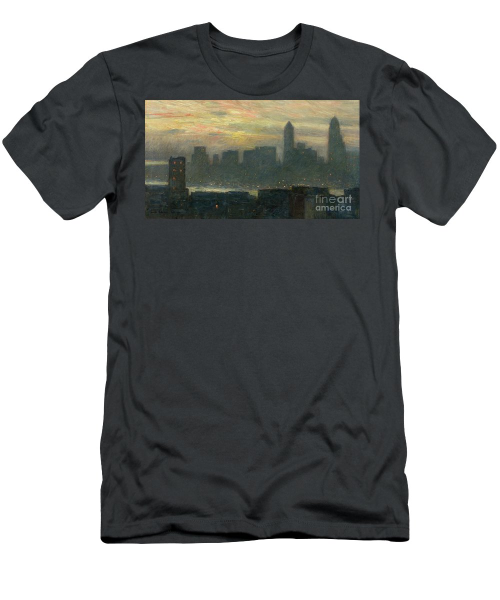 Nyc; New York City; Ny; Us; Usa; Skyline; Mist; Fog; Atmospheric; Evening; Dusk; American Impressionist; Skyscraper; Skyscrapers; River; Tower; Fog Men's T-Shirt (Athletic Fit) featuring the painting Manhattans Misty Sunset by Childe Hassam
