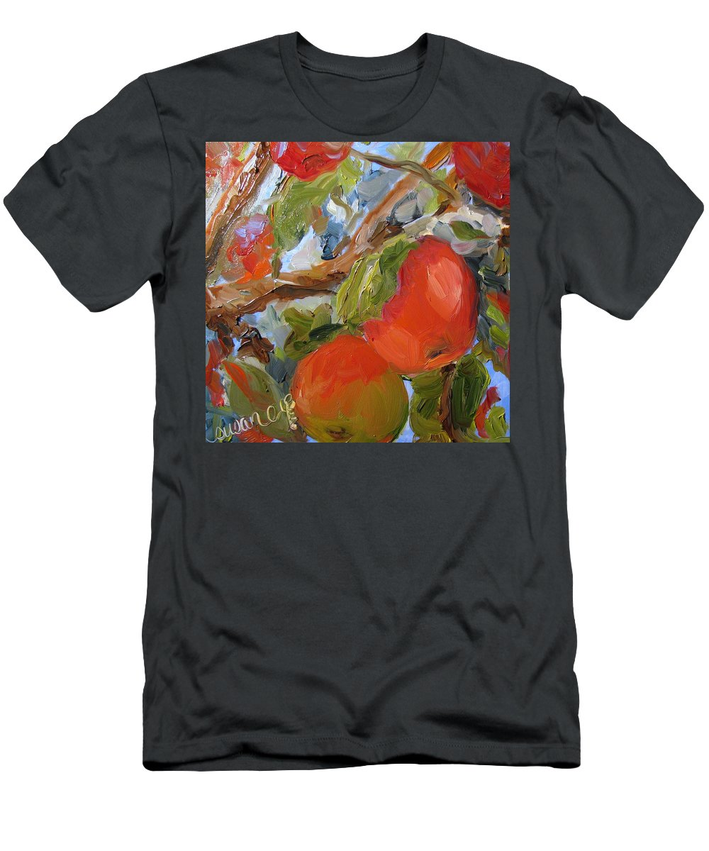 Red Men's T-Shirt (Athletic Fit) featuring the painting Many A Macoun by Susan Elizabeth Jones