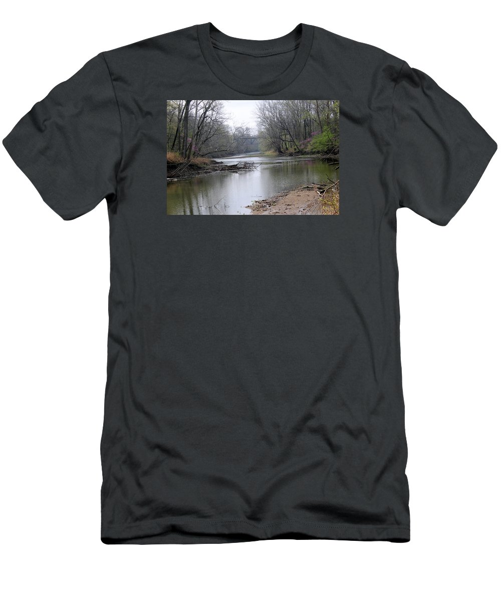 March Men's T-Shirt (Athletic Fit) featuring the photograph March River Morning by Harold Hopkins