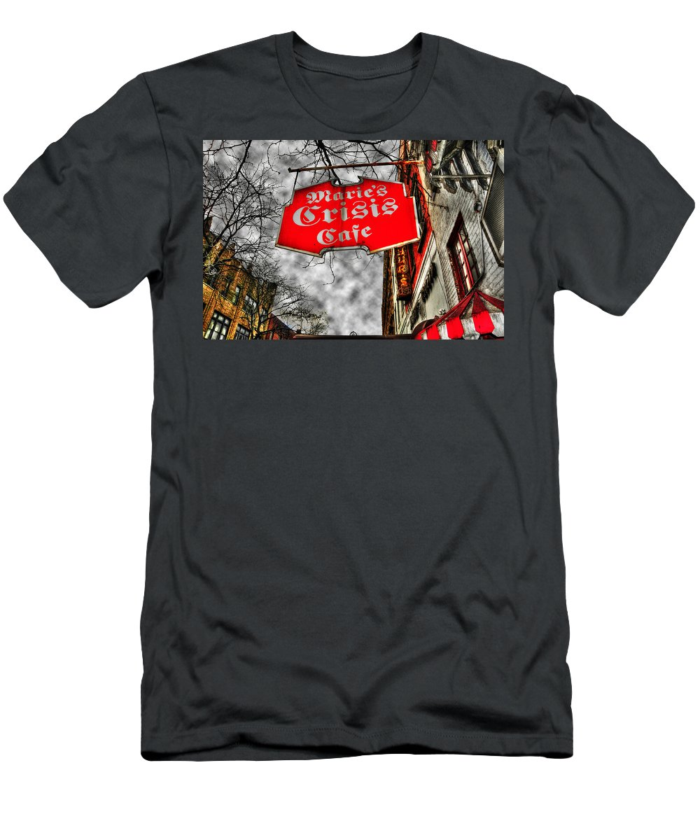 Cafe Men's T-Shirt (Athletic Fit) featuring the photograph Marie's Crisis Cafe by Randy Aveille