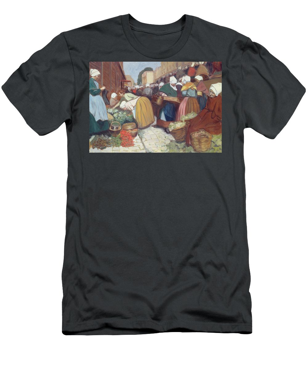 French Men's T-Shirt (Athletic Fit) featuring the painting Market In Brest by Fernand Piet