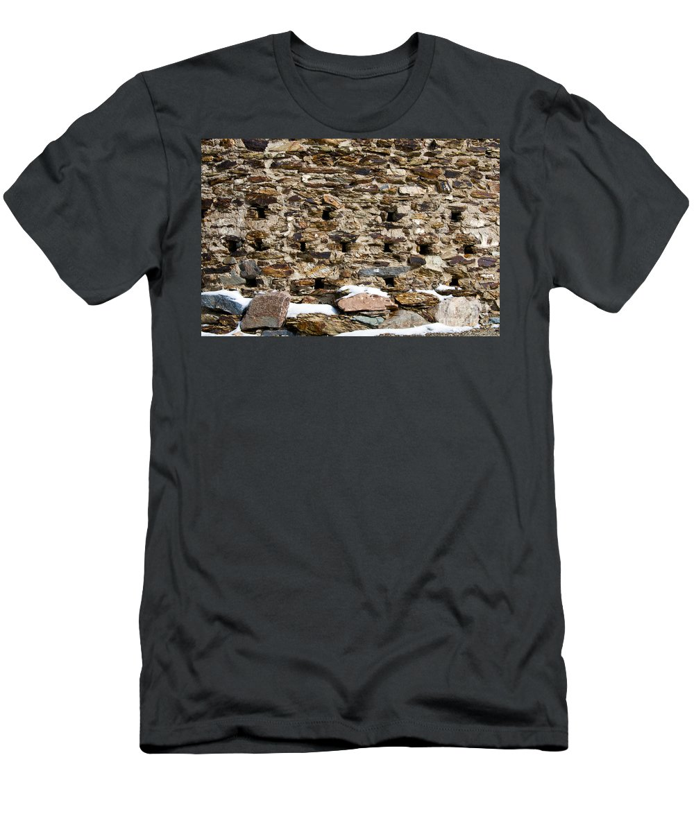 Charcoal Kiln Kilns Rock Rocks Snow Death Valley National Park Parks Odds And Ends Men's T-Shirt (Athletic Fit) featuring the photograph Masonry by Bob Phillips
