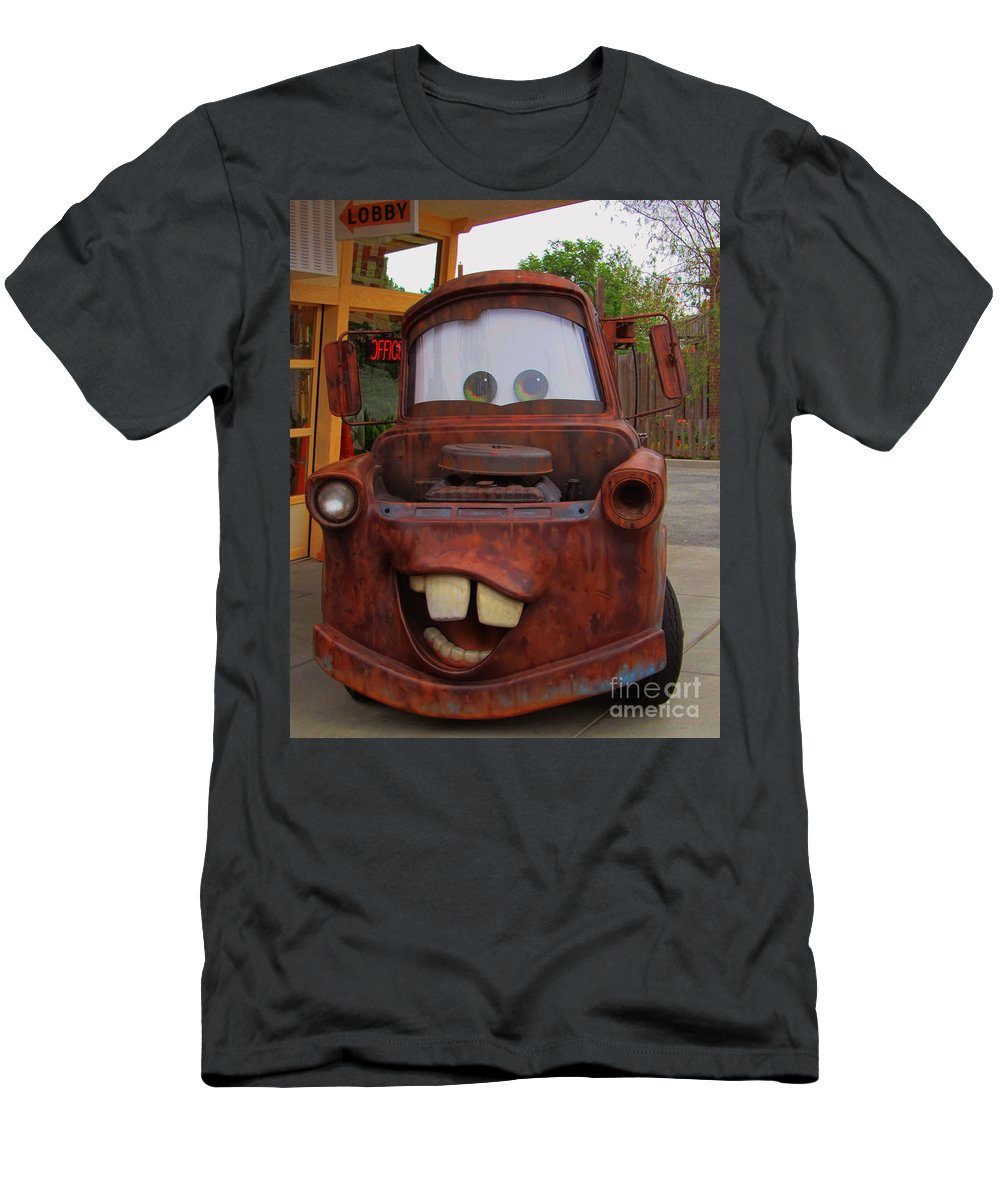 Disney California Adventure Men's T-Shirt (Athletic Fit) featuring the photograph Mater by Tommy Anderson