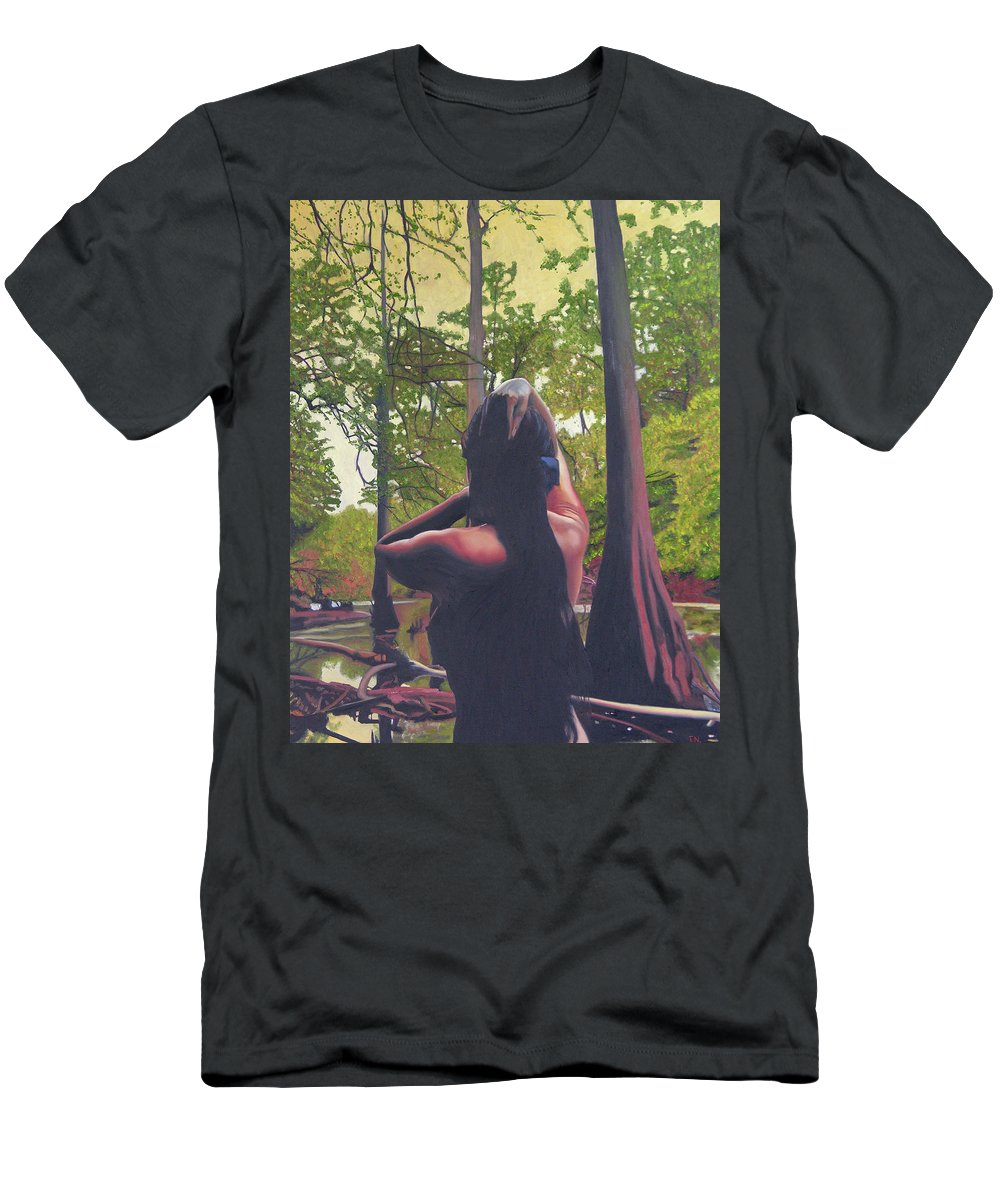 Figure Men's T-Shirt (Athletic Fit) featuring the painting May Morning Arkansas River 5 by Thu Nguyen