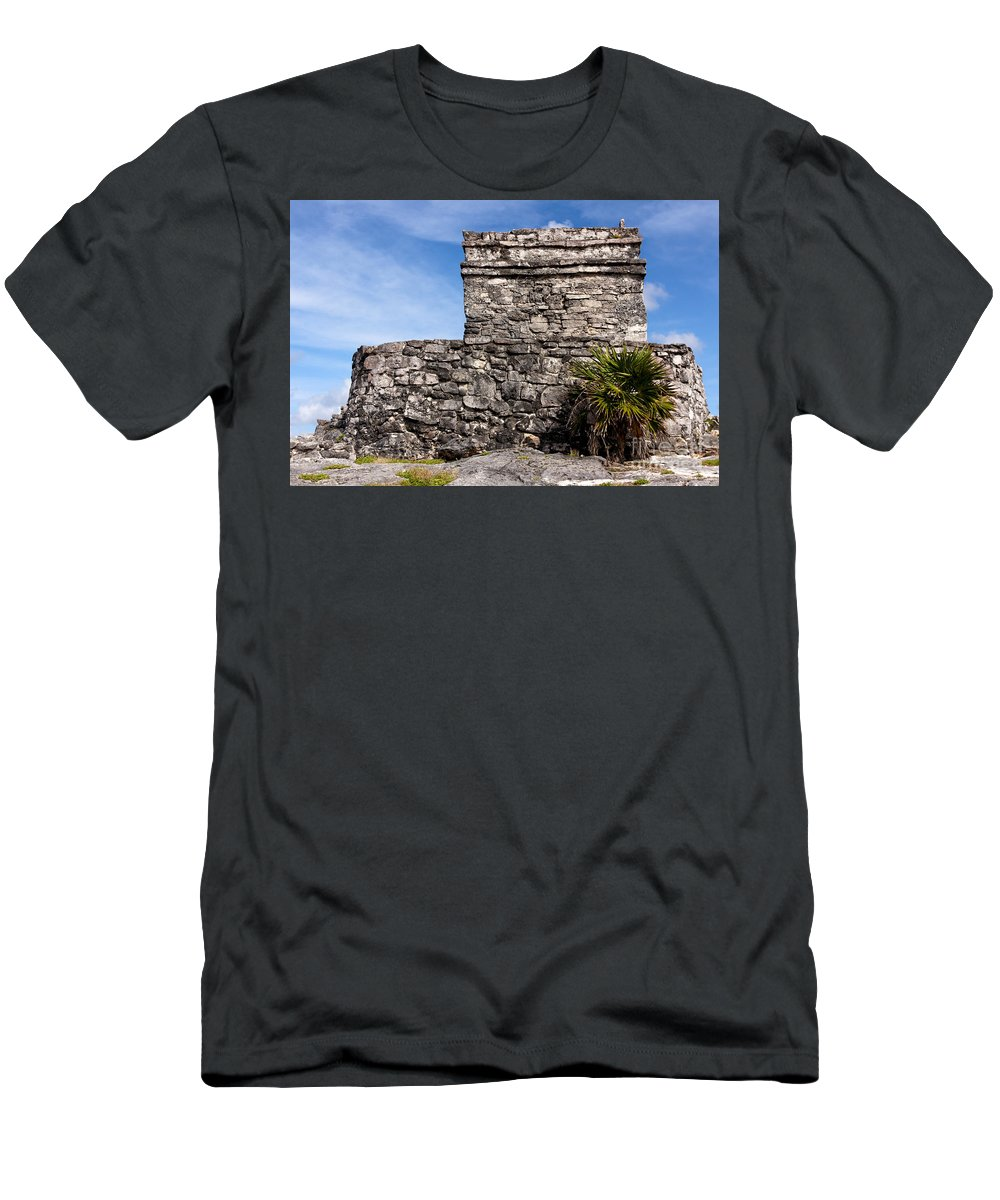 Ancient Men's T-Shirt (Athletic Fit) featuring the photograph Mayan Building At Tulum by Jannis Werner