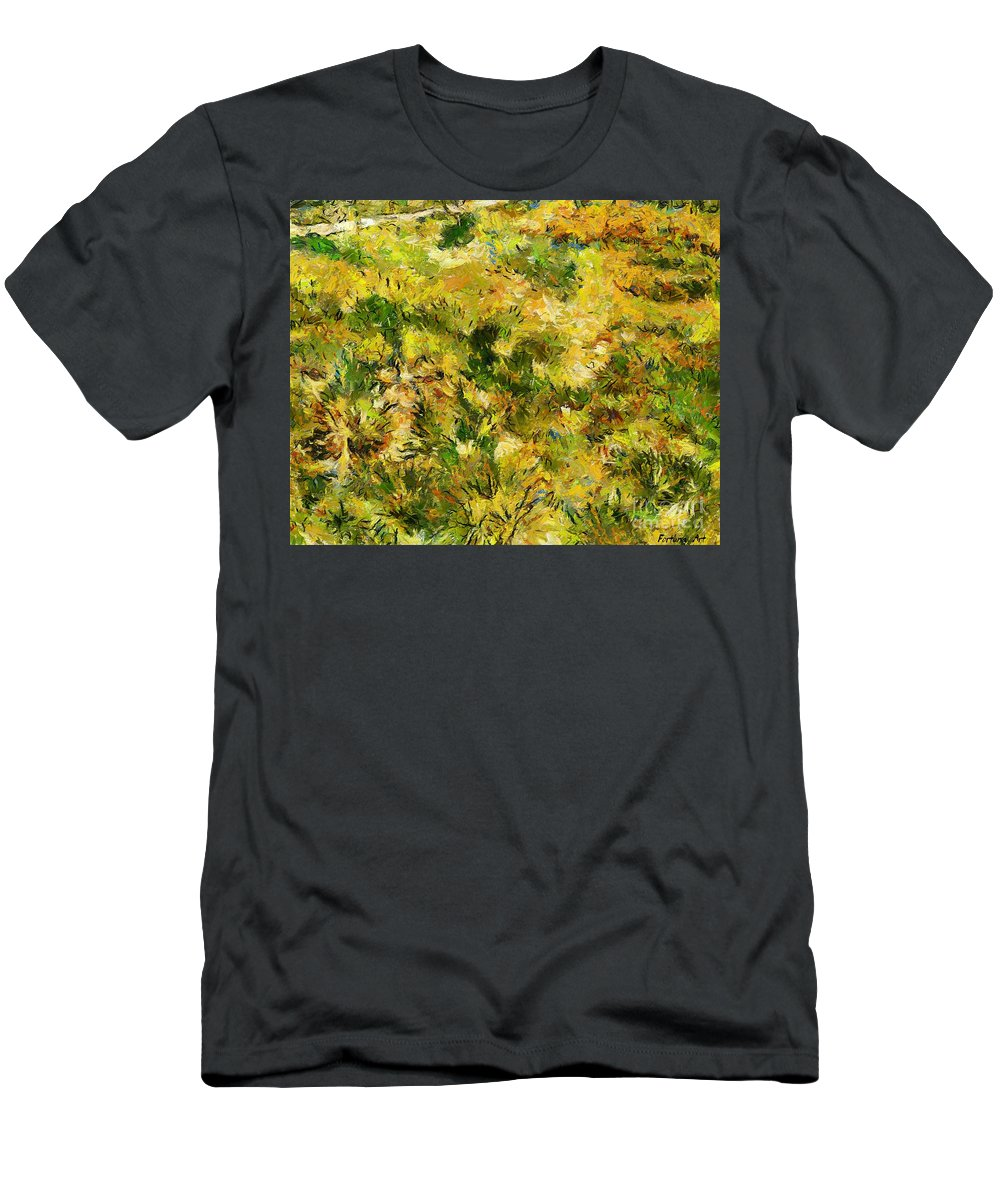 Van Gogh Men's T-Shirt (Athletic Fit) featuring the painting Meadow After Van Gogh by Dragica Micki Fortuna