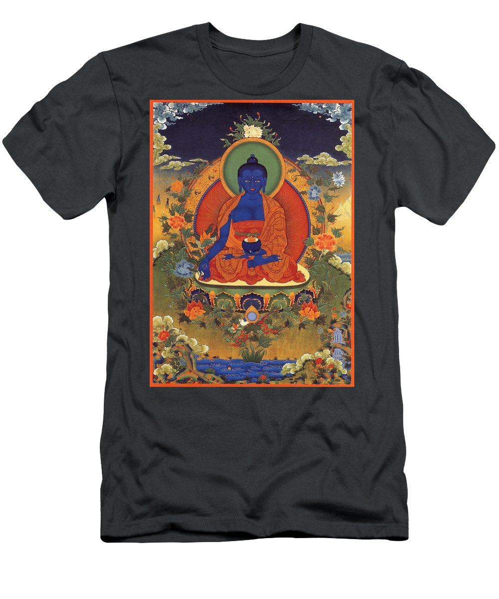 The Pharmacist Glass Light Tathagata Men's T-Shirt (Athletic Fit) featuring the photograph Medicine Buddha 8 by Jeelan Clark
