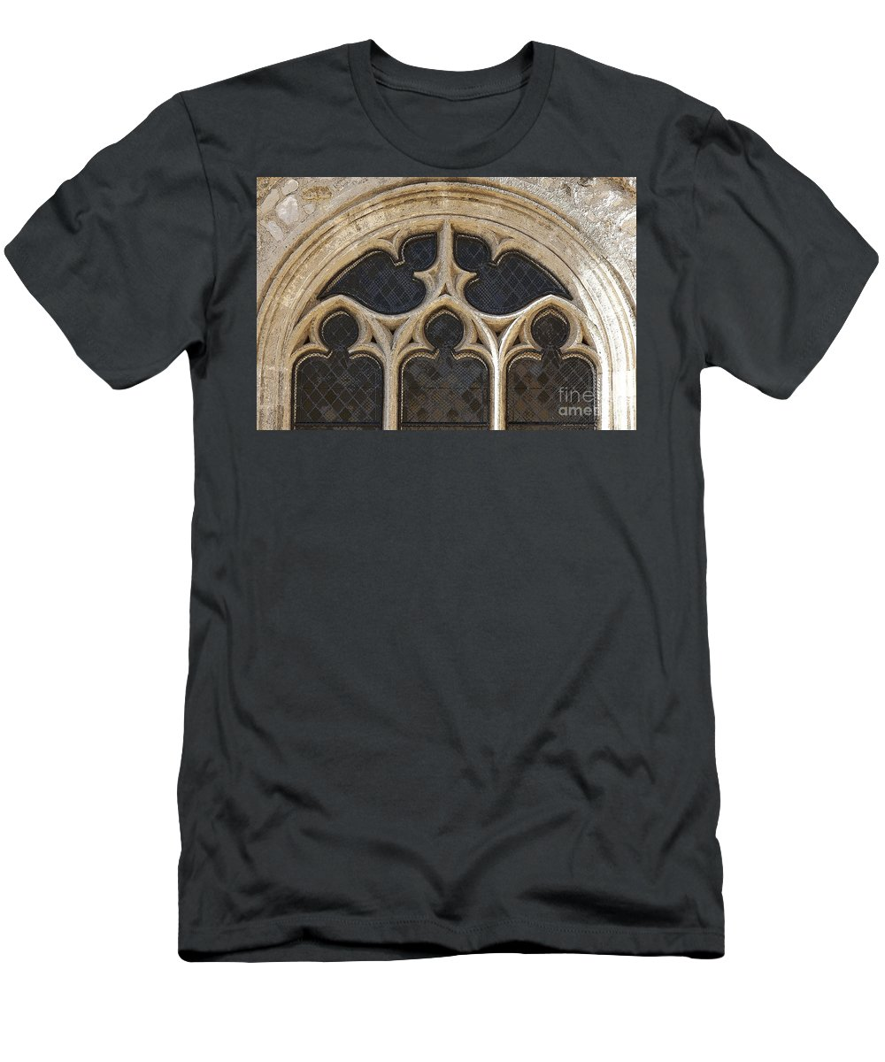 Heiko Men's T-Shirt (Athletic Fit) featuring the photograph Medieval Church Window Ornaments by Heiko Koehrer-Wagner