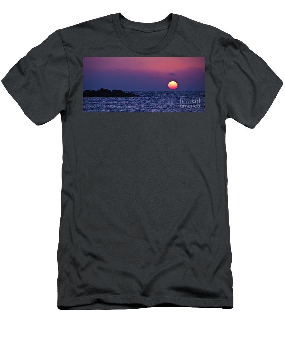 Mediterranean Men's T-Shirt (Athletic Fit) featuring the photograph Mediterranean Sunset by Judith Katz