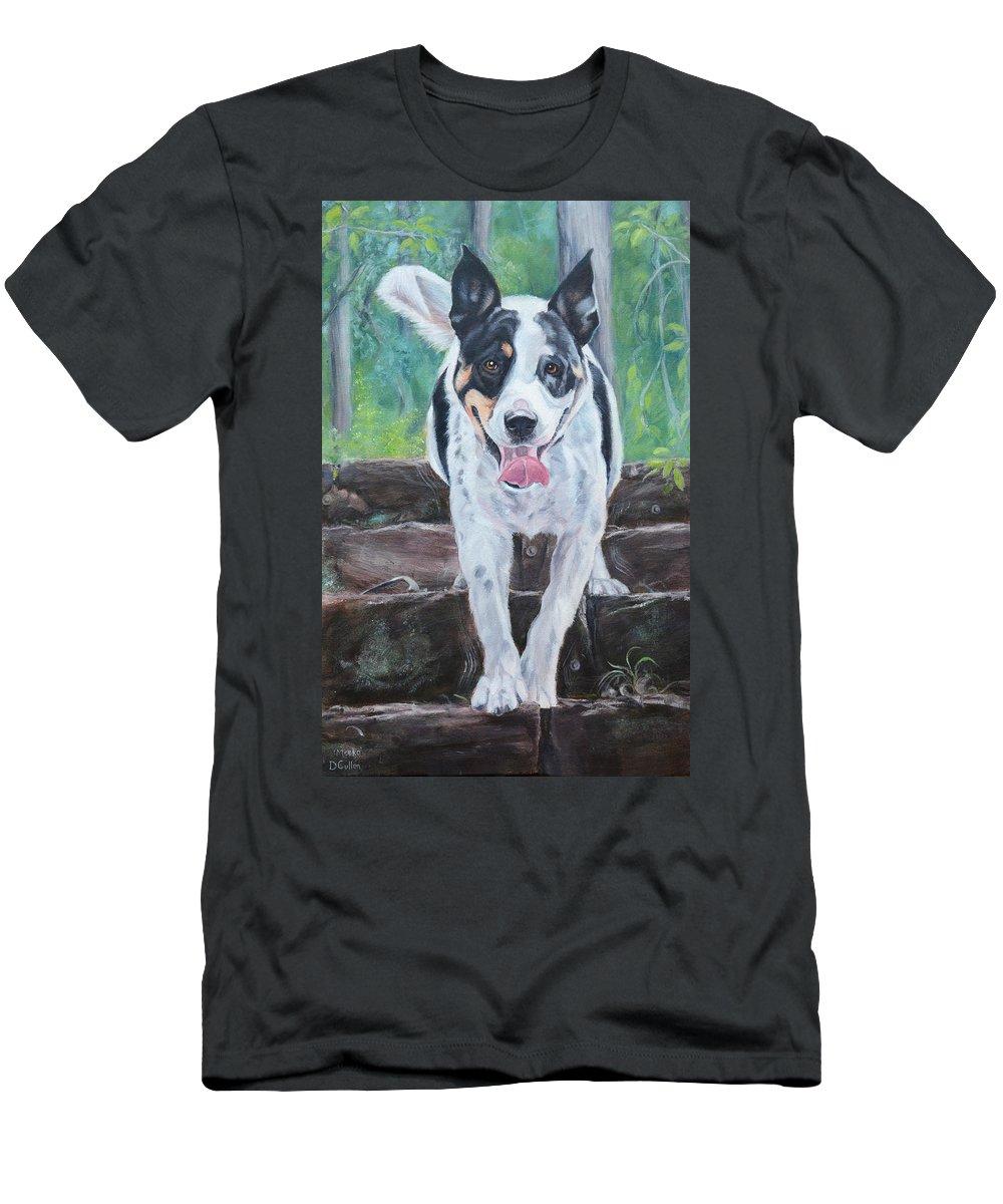 Border Collie X American Bulldog Men's T-Shirt (Athletic Fit) featuring the painting Meeko by Deborah Cullen