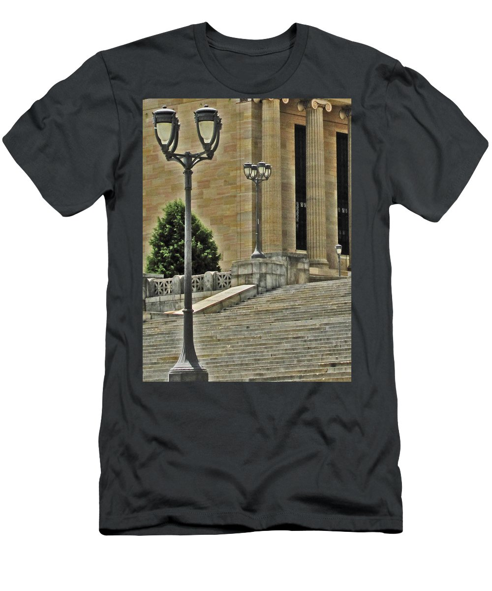Philadelphia Men's T-Shirt (Athletic Fit) featuring the photograph Meet Me On The Steps by Ian MacDonald