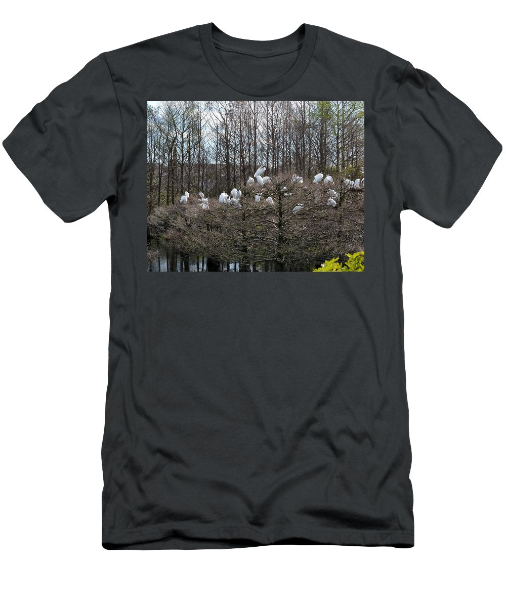 Bird Men's T-Shirt (Athletic Fit) featuring the photograph Meeting Place by Linda Kerkau