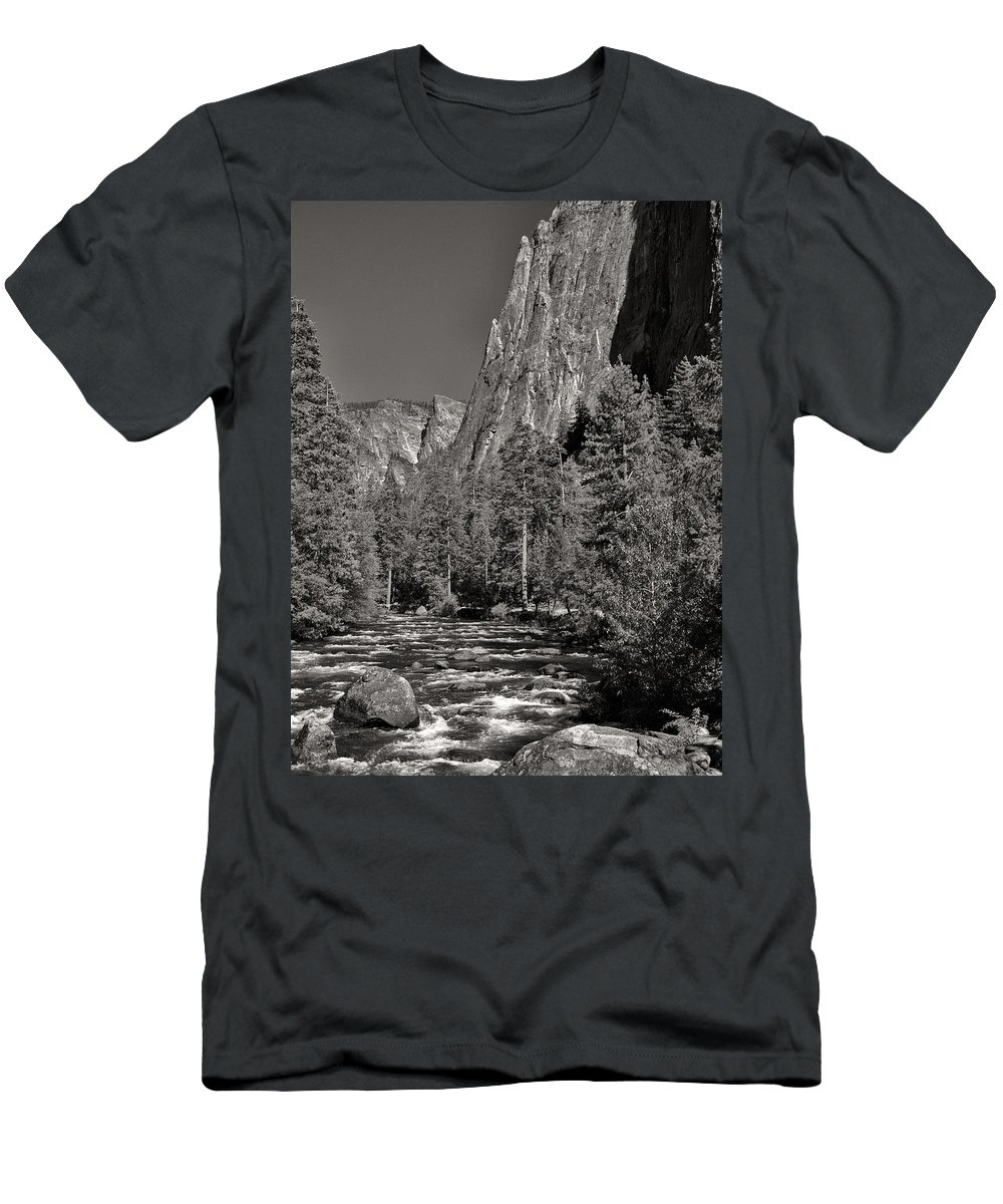 Landscape Men's T-Shirt (Athletic Fit) featuring the photograph Merced River Yosemite by David Beebe