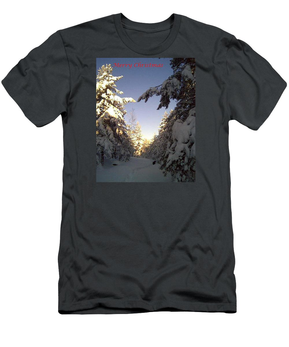 Christmas Men's T-Shirt (Athletic Fit) featuring the photograph I Wish You A Merry Christmas From My Winter Wonderland by Hilde Widerberg