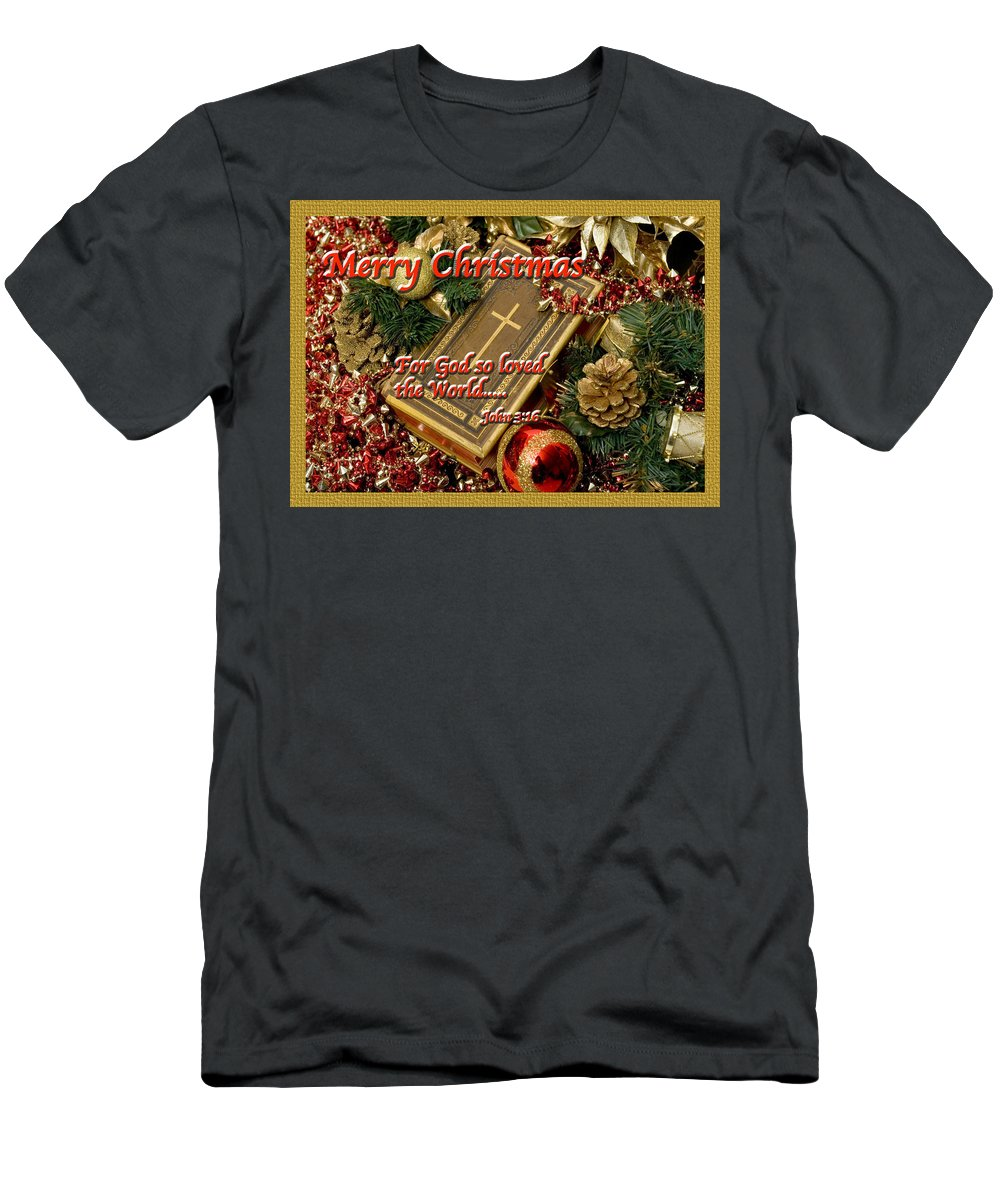 Christmas Card Men's T-Shirt (Athletic Fit) featuring the photograph Merry Christmas - John 3 V16 by Terry Wallace