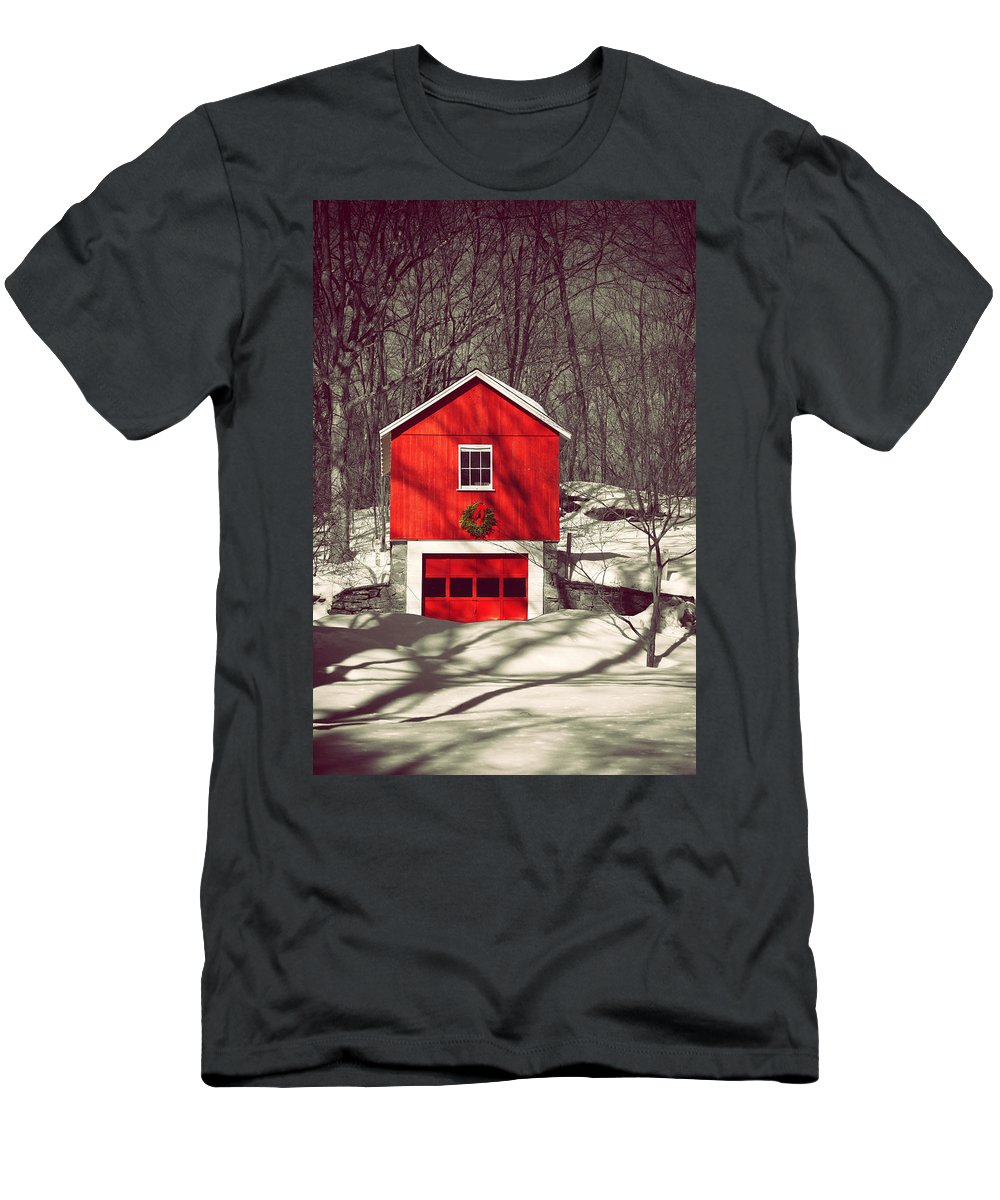 Winter Men's T-Shirt (Athletic Fit) featuring the photograph Merry Red by Karol Livote