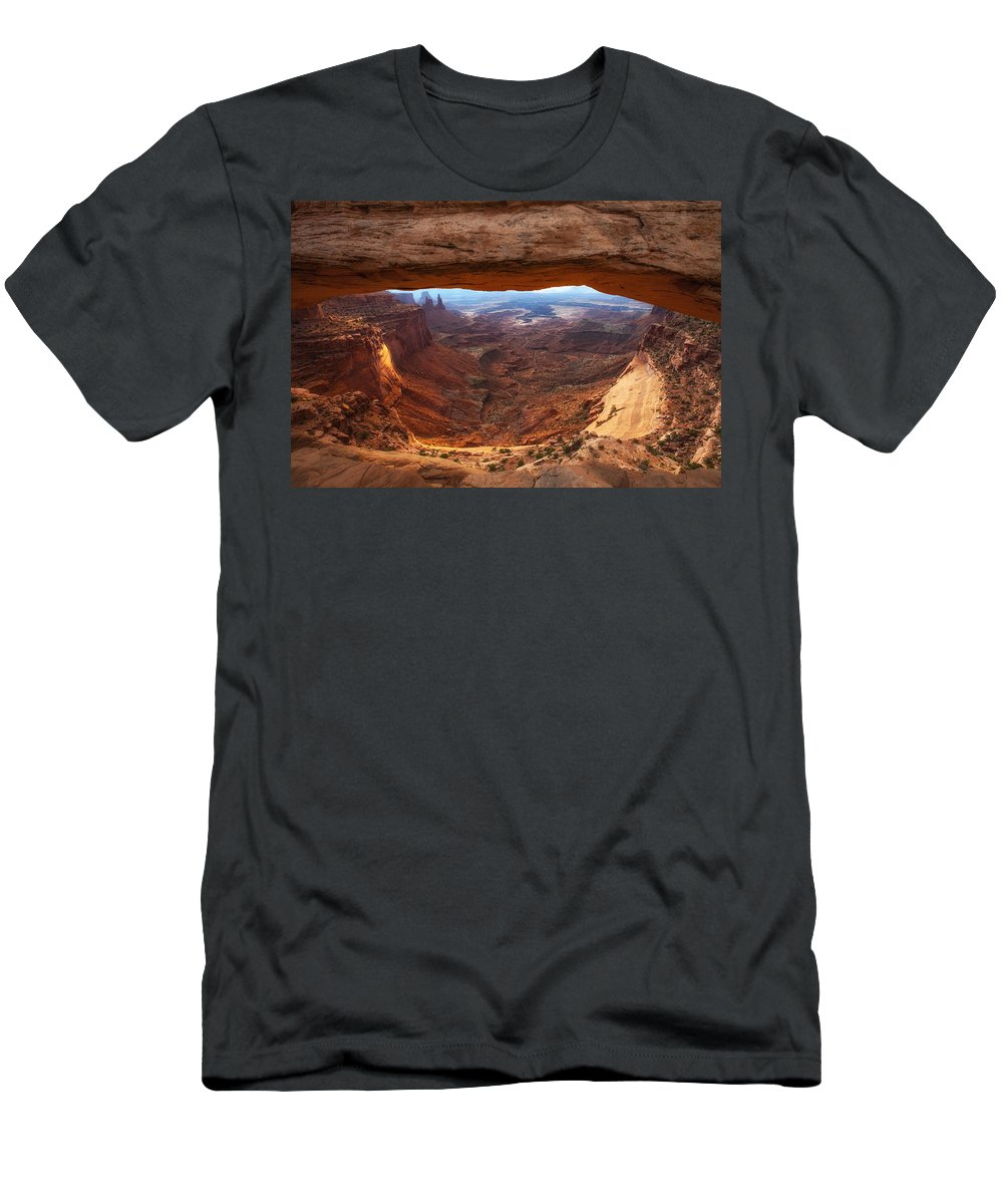 Mesa Arch Men's T-Shirt (Athletic Fit) featuring the photograph Mesa Sunrise Window by Darren White