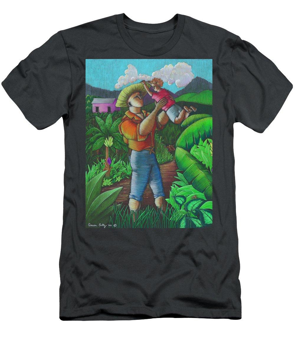 Puerto Rico T-Shirt featuring the painting Mi futuro y mi tierra by Oscar Ortiz