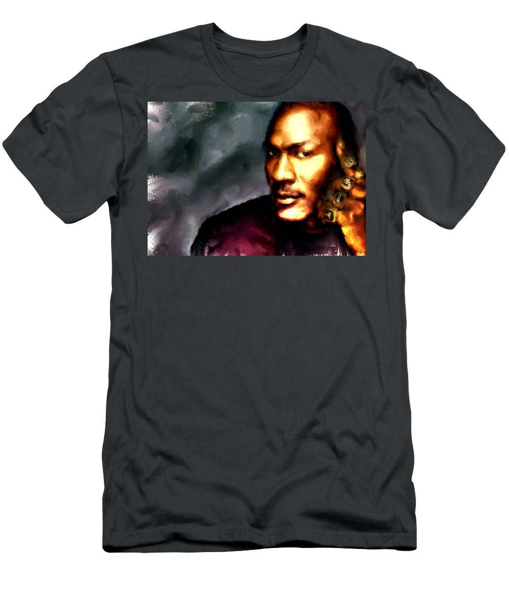 ad84a75c1823bf Michael Jordan Men s T-Shirt (Athletic Fit) featuring the painting Michael  Jordan Six