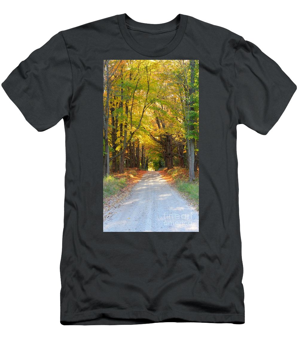 Fall Men's T-Shirt (Athletic Fit) featuring the photograph Michigan Back Roads by Stephanie Kripa